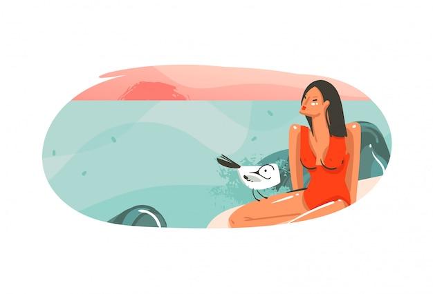 Hand gezeichnete abstrakte karikatur sommerzeit grafik hawaii illustrationen vorlage hintergrund abzeichen mit ozean strand landschaft, sonnenuntergang und schönheit mädchen mit kopie raum platz für ihr design Premium Vektoren