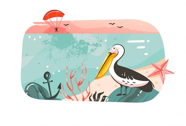 Hand gezeichnete abstrakte karikatur sommerzeit grafik illustrationen banner hintergrund mit ozean strand landschaft, rosa sonnenuntergang ansicht, pelikan vogel mit kopie raum platz für ihren text auf weiß Premium Vektoren