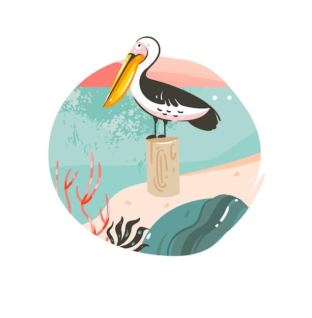 Hand gezeichnete abstrakte karikatur sommerzeit grafik illustrationen vorlage hintergrund abzeichen mit ozean strand landschaft, rosa sonnenuntergang und schönheit pelikan vogel mit kopie raum platz für ihren text Premium Vektoren