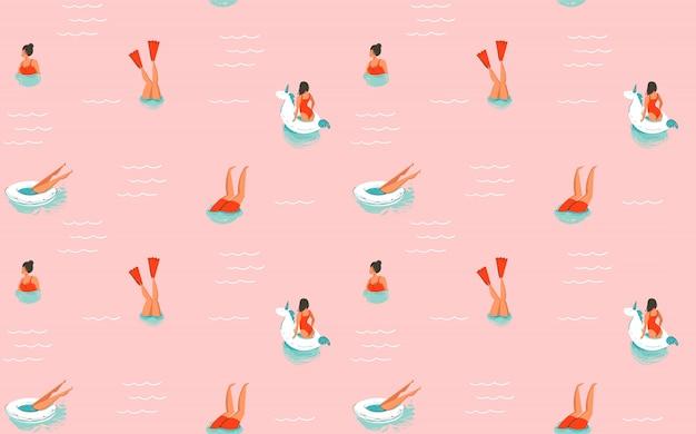 Hand gezeichnete abstrakte karikatur sommerzeit spaß illustration nahtlose muster mit schwimmenden menschen auf rosa hintergrund Premium Vektoren