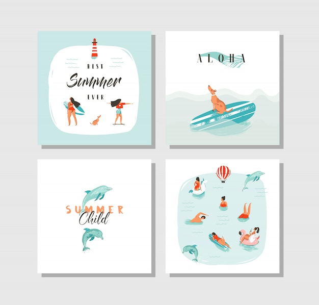 Hand gezeichnete abstrakte karikatur-sommerzeit-spaßkarten-sammlungssatzschablone mit glücklichen schwimmenden menschen im blauen ozeanwasser, hund auf skateboard und typografie-zitat auf weißem hintergrund. Premium Vektoren
