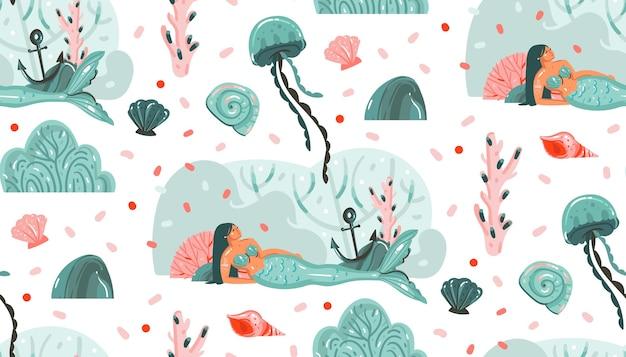 Hand gezeichnete abstrakte karikaturgrafik sommerzeit-unterwasserillustrationen nahtloses muster mit quallen, fischen und meerjungfrauenmädchencharakteren lokalisiert auf weißem hintergrund. Premium Vektoren