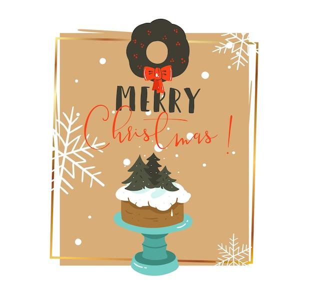 Hand gezeichnete abstrakte karikaturillustrationen der frohen weihnachten und des guten rutsch ins neue jahr Premium Vektoren