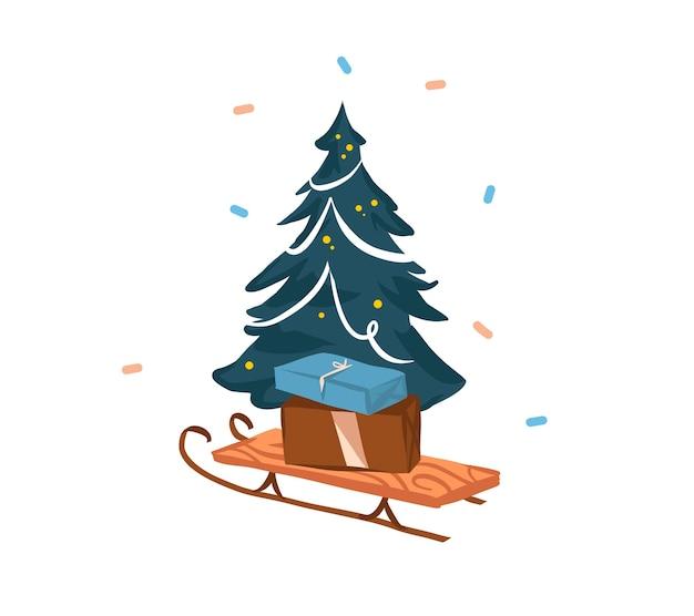 Hand gezeichnete abstrakte lager frohe weihnachten und frohes neues jahr karikatur festliche karte Premium Vektoren