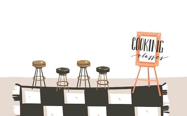 Hand gezeichnete abstrakte moderne karikatur kochklasse küche innenillustrationen mit kopienraum und handgeschriebene kalligraphie kochklassen isoliert auf weißem hintergrund Premium Vektoren