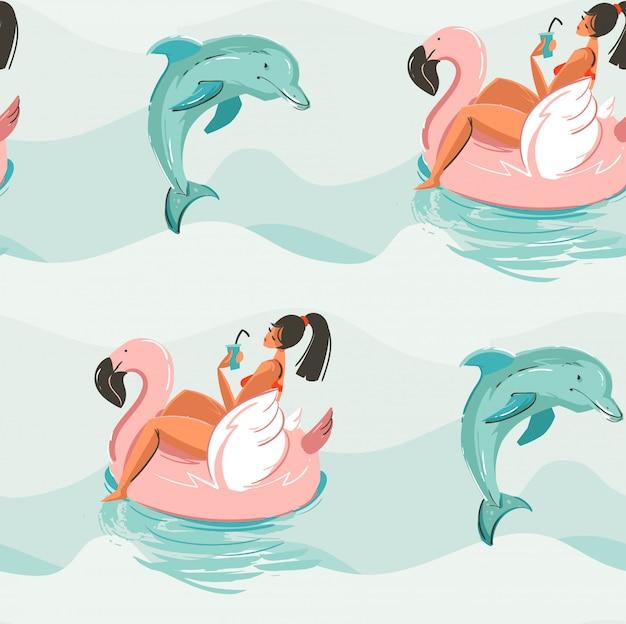 Hand gezeichnete abstrakte niedliche sommerzeit nahtloses muster mit strandmädchen, das auf rosa flamingoschwimmerkreis und delfinen im blauen ozeanwasserwellenbeschaffenheitshintergrund schwimmt Premium Vektoren