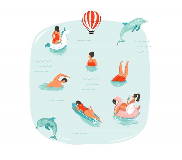 Hand gezeichnete abstrakte sommerzeit-spaßillustration mit schwimmenden glücklichen menschen mit springenden delfinen, heißluftballon, einhorn und rosa flamingobojen schwimmt auf blauem wasserhintergrund Premium Vektoren