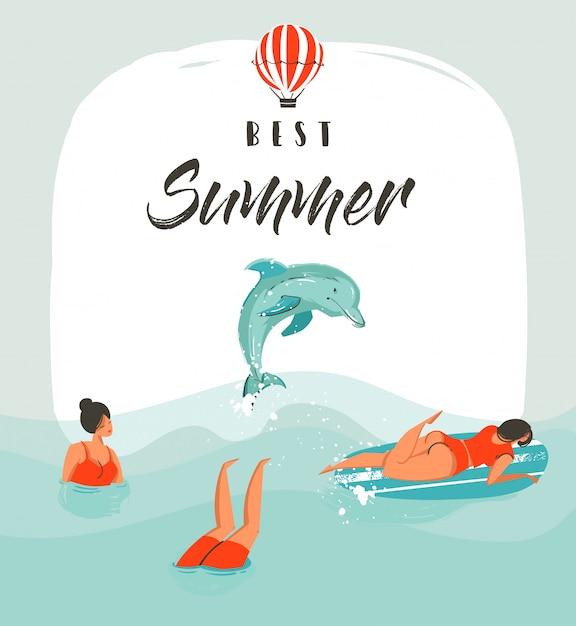 Hand gezeichnete abstrakte sommerzeit-spaßillustrationskartenschablone mit schwimmenden glücklichen menschen in den meereswellen mit springendem delphin und modernem typografiephasenbester sommer Premium Vektoren