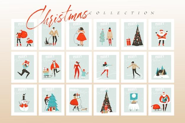 Hand gezeichnete abstrakte spaß frohe weihnachten zeit cartoon illustrationen grußkarten und hintergründe große sammlung mit geschenkboxen, menschen und weihnachtsbaum lokalisiert auf handwerk hintergrund gesetzt Premium Vektoren