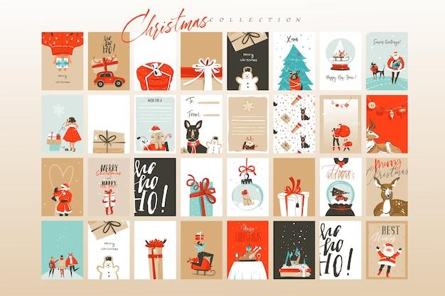 Hand gezeichnete abstrakte spaß frohe weihnachten zeit cartoon illustrationen grußkarten vorlage und hintergründe große sammlung mit geschenkboxen, menschen und weihnachtsbaum lokalisiert auf weißem hintergrund Premium Vektoren