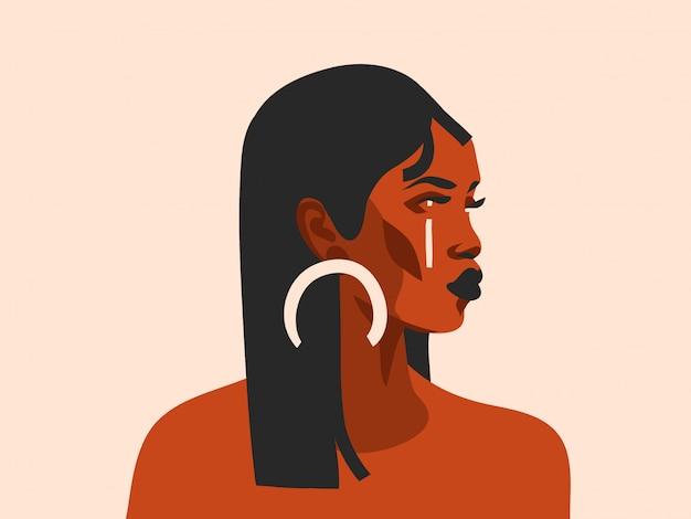 Hand gezeichnete abstrakte stockgrafische illustration mit der schönen schwarzen frau des ethnischen stammes und dem einfachen vollmond des goldenen vollmonds auf weißem hintergrund Premium Vektoren