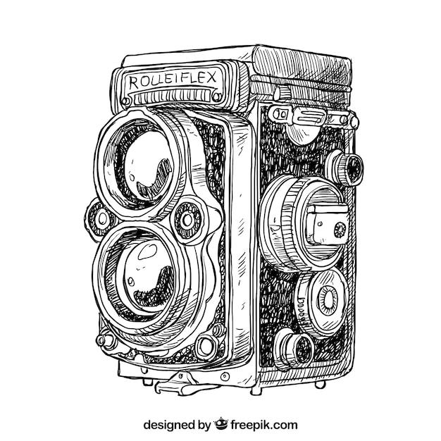 Hand gezeichnete antike kamera Kostenlosen Vektoren