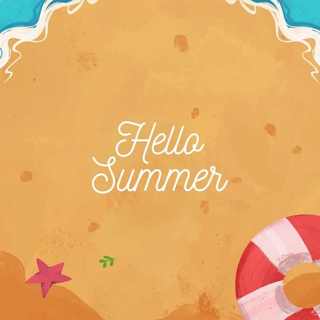 Hand gezeichnete aquarell hallo sommerhintergrund Premium Vektoren