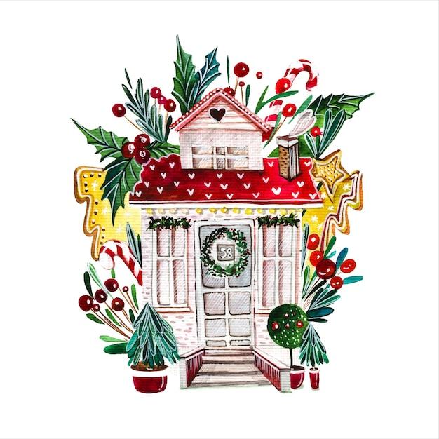 Hand gezeichnete aquarellillustration des märchenhauses fabelhafte hüttenfassade, umgeben von geschmückten neujahrsbäumen auf weißem hintergrund gebäude mit weihnachtsdekorationen aquarellmalerei Premium Vektoren