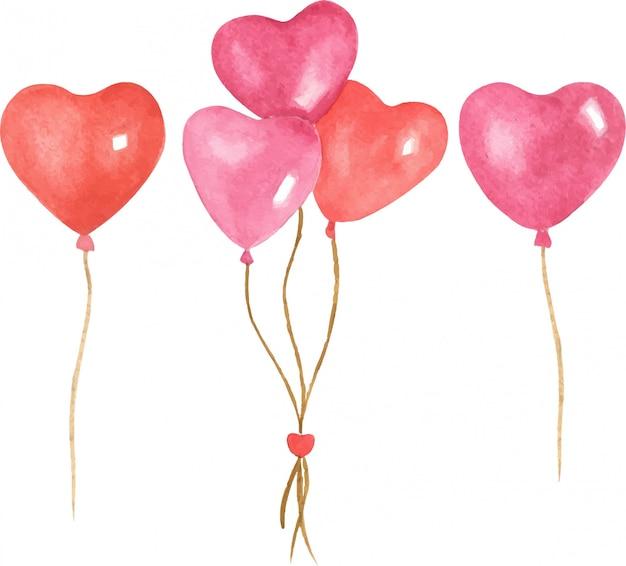 Hand gezeichnete aquarellillustrationssatz des valentinstags formt herzballons. helle farben, zeichentrickfigur, isolierte objekte auf weißem hintergrund. Premium Vektoren