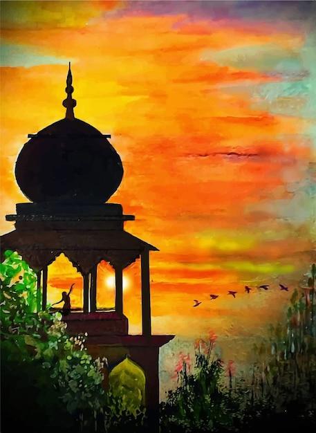 Hand gezeichnete aquarellrot-sonnenuntergangillustration mit einem religionssymbol Premium Vektoren