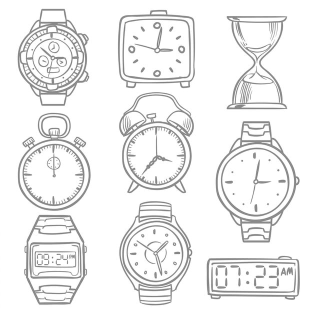 Hand gezeichnete armbanduhr, gekritzelskizzenuhren, wecker und uhrvektorsatz. illustration der zeit und der uhr, der stoppuhrskizze und der digitalen armbanduhr Premium Vektoren