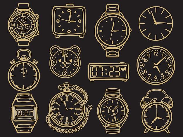 Hand gezeichnete armbanduhr, gekritzelskizzenuhren Premium Vektoren