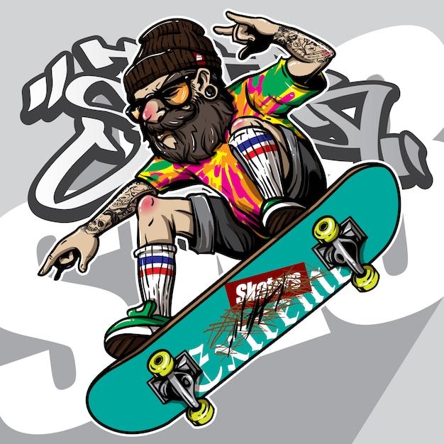 Hand gezeichnete art des hippies, der skateboard fährt Premium Vektoren