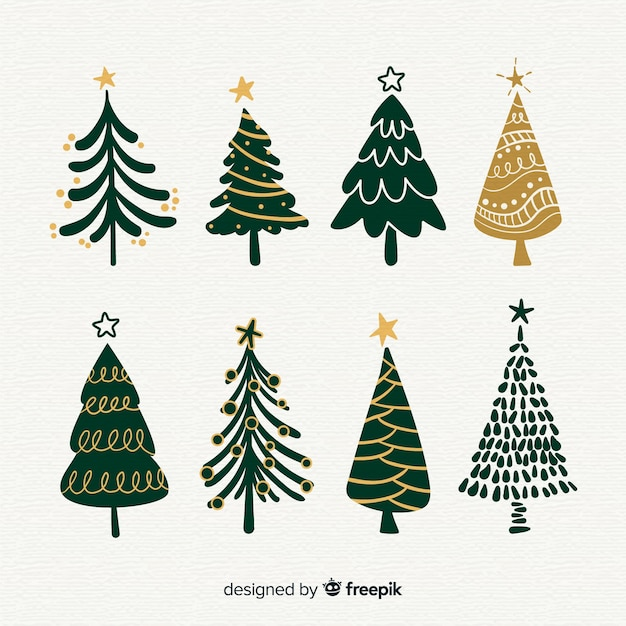 Hand gezeichnete artweihnachtsbaumsammlung Kostenlosen Vektoren
