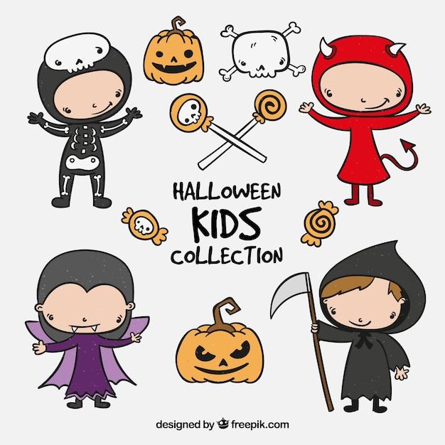 Hand gezeichnete Aufkleber mit Halloween Kinder   Download der ...
