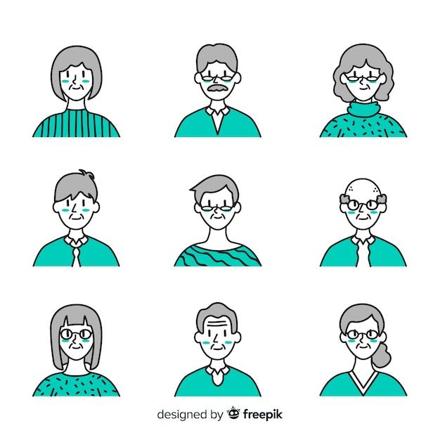Hand gezeichnete avatarasammlung der alten leute Kostenlosen Vektoren
