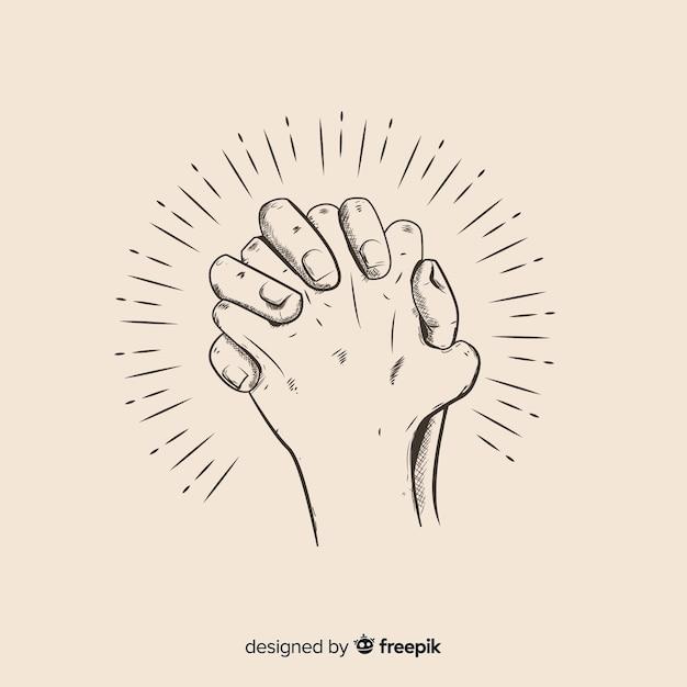 Hand gezeichnete betende handillustration Kostenlosen Vektoren