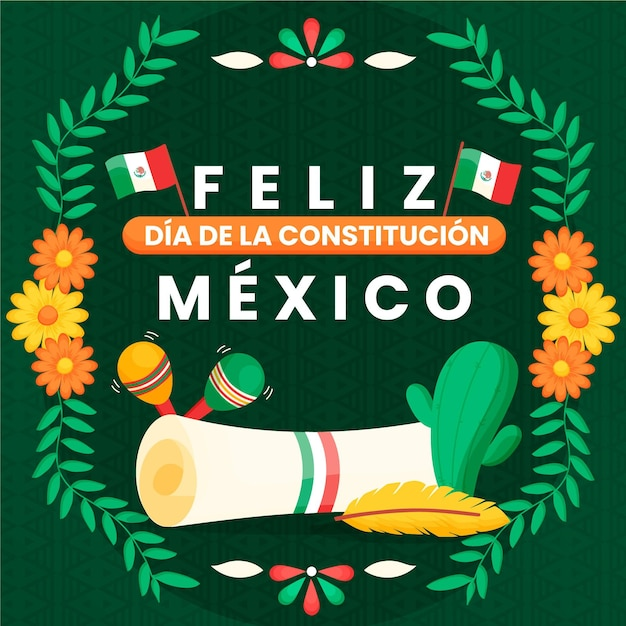 Hand gezeichnete blumen mexiko verfassungstag Kostenlosen Vektoren