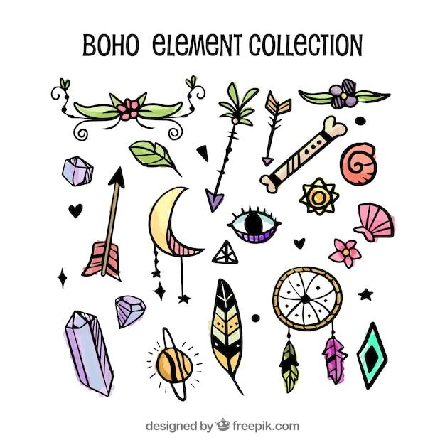 Hand gezeichnete Boho-Elementsammlung Kostenlose Vektoren