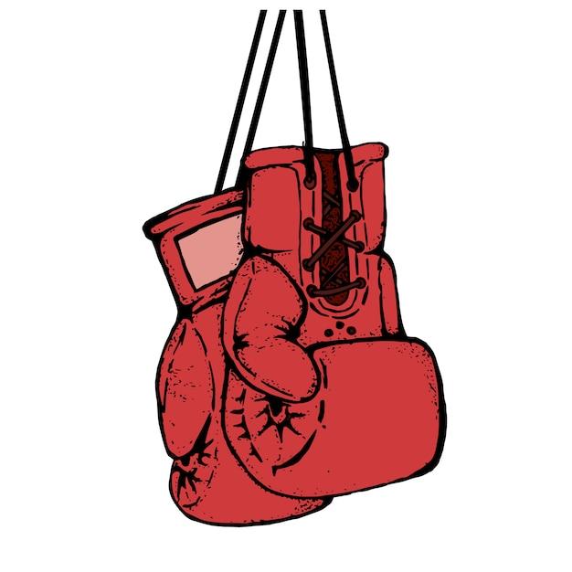 Hand gezeichnete boxhandschuhe lokalisiert auf weißem hintergrund. gestaltungselement für plakat, emblem, t-shirt druck. Premium Vektoren