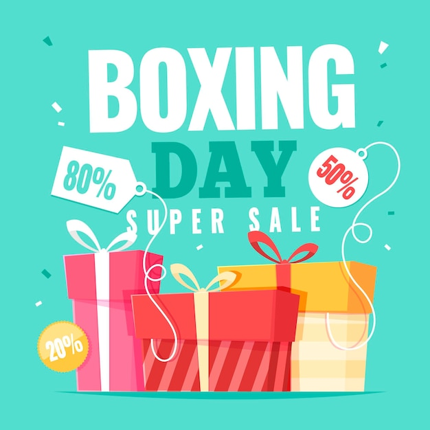 Hand gezeichnete boxing day geschenke Premium Vektoren