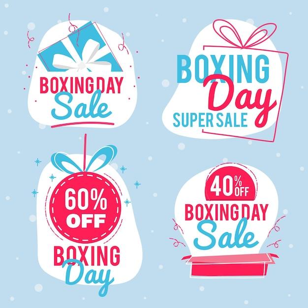 Hand gezeichnete boxing day sale abzeichen sammlung Kostenlosen Vektoren