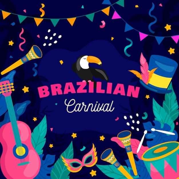 Hand gezeichnete brasilianische karnevalselemente Kostenlosen Vektoren