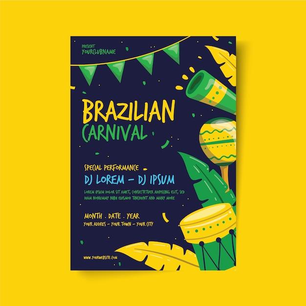 Hand gezeichnete brasilianische karnevalsfliegerschablone Kostenlosen Vektoren