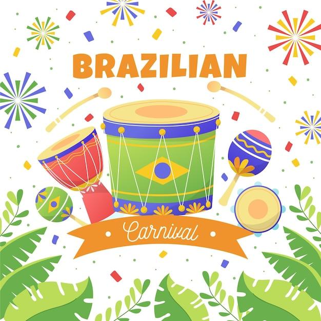Hand gezeichnete brasilianische karnevalsillustration Kostenlosen Vektoren