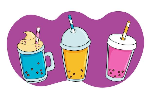 Hand gezeichnete bubble tea aromen Premium Vektoren