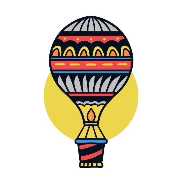 Hand gezeichnete bunte alte schultätowierungsillustration des luftballons Premium Vektoren
