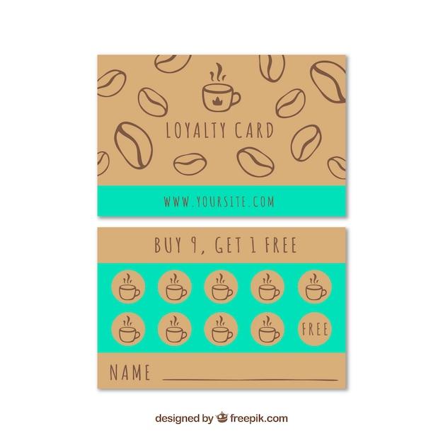 Hand gezeichnete café-loyalitätskartenschablone Kostenlosen Vektoren