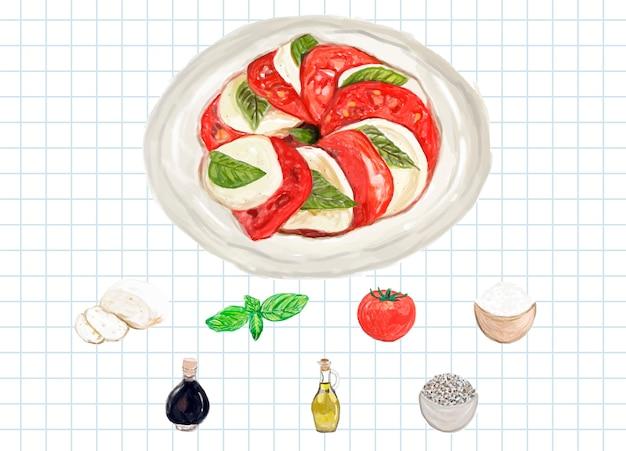 Hand gezeichnete caprese-salat-aquarellart Kostenlosen Vektoren