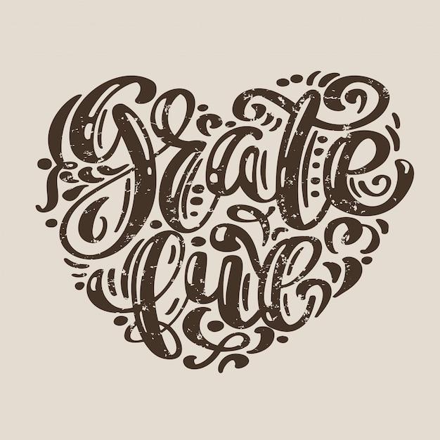 Hand gezeichnete dankbare typografie Premium Vektoren
