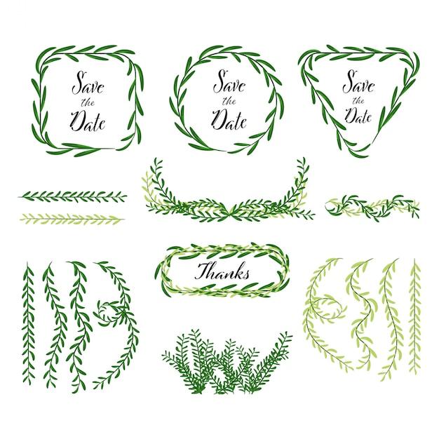 Hand gezeichnete dekoration der blätter und des natürlichen elements Premium Vektoren