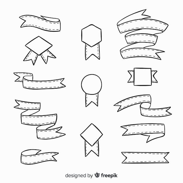 Hand gezeichnete dekorative bandsammlung Kostenlosen Vektoren