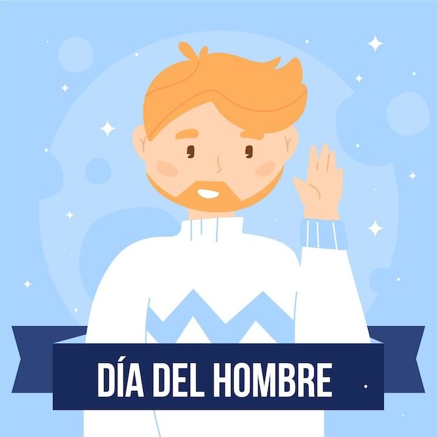 Hand gezeichnete dia del hombre illustration Kostenlosen Vektoren