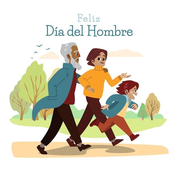 Hand gezeichnete dia del hombre illustration Premium Vektoren