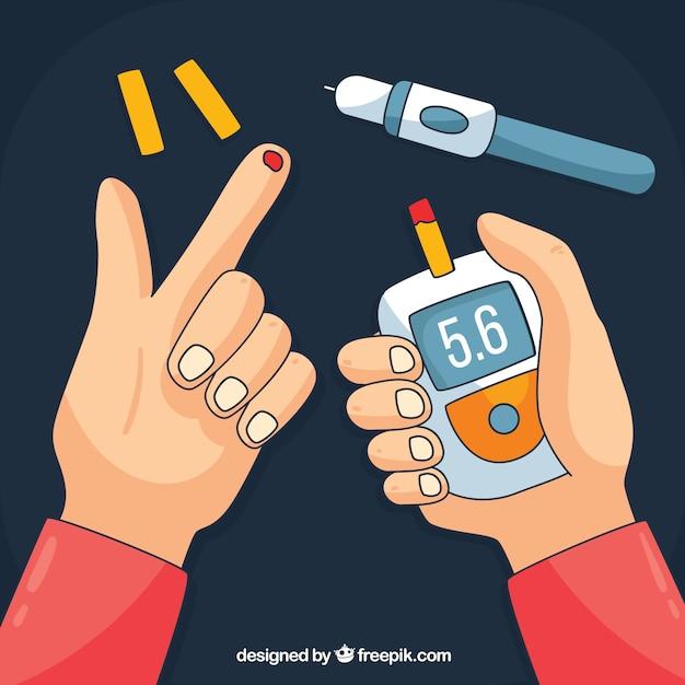 Hand gezeichnete diabetes-testblutzusammensetzung Kostenlosen Vektoren