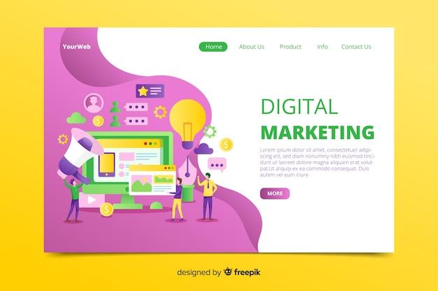 Hand gezeichnete digitale marketing-landingpage Kostenlosen Vektoren