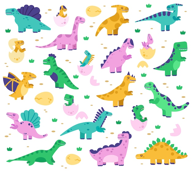 Hand gezeichnete dinosaurier. nettes dino-baby in eiern, dinosaurierfiguren der jurazeit, diplodocus und tyrannosaurus-illustrationssatz. diplodocus und dinosaurier reptil für kinder gefärbt Premium Vektoren