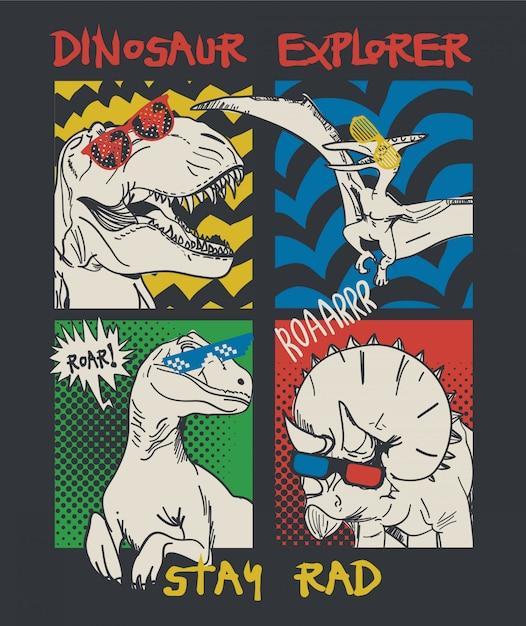 Hand gezeichnete dinosaurierillustration Premium Vektoren