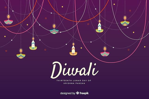 Hand gezeichnete diwali hintergrundfeier Kostenlosen Vektoren