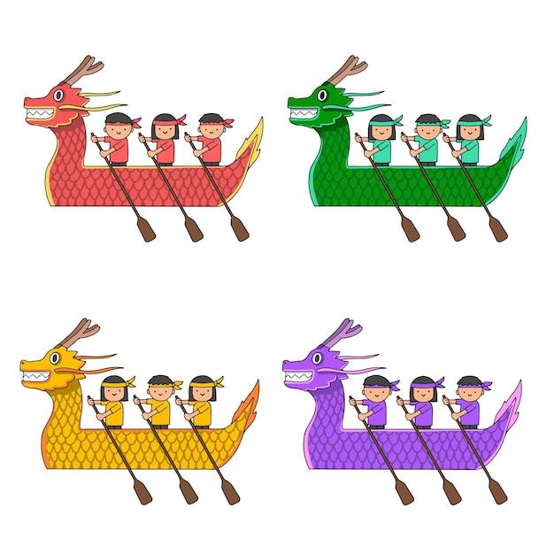 Hand gezeichnete drachenboot-sammlung Kostenlosen Vektoren